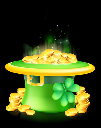 leprachaun: Cartoon green St Patrick's Day lucky Leprechaun hat full of gold coins with a shamrock or clover Illustration