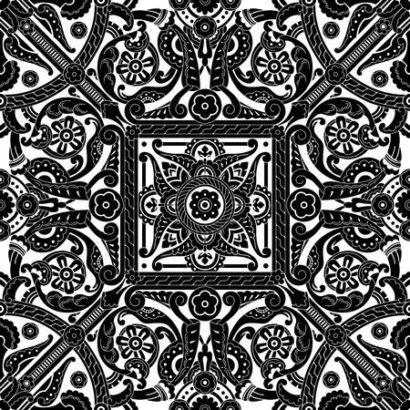 muslim fashion: Beautiful middle eastern vintage seamless tile design element Illustration