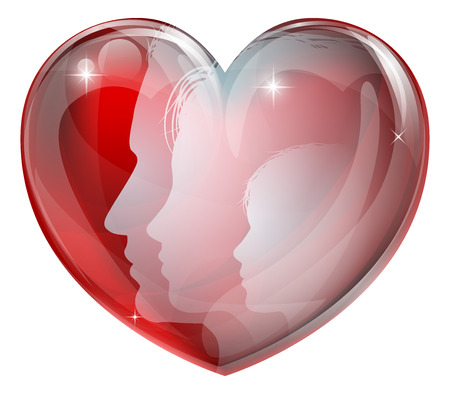 Family faces heart silhouettes, man woman and child in a heart shape. Concept for a happy loving family  Vector