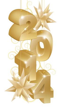 newyear: Elemento de dise�o ilustraci�n de oro del A�o Nuevo o Navidad 2014 Decoraciones o adornos del �rbol con adornos en forma de estrella, y vaya forma de patr�n
