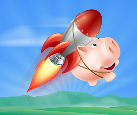 strapped: An illustration of a piggy bank with a rocket on his back flying through the air over a landscape Illustration