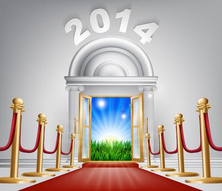 venue: Una porta che si apre per rivelare un VIP alba e bel paesaggio verde. Forse un concetto di speranza per il futuro. Vettoriali