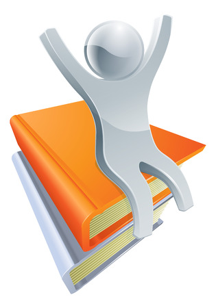 Conceptual illustration of a happy silver person sitting on a stack of books with arms raised. Vector