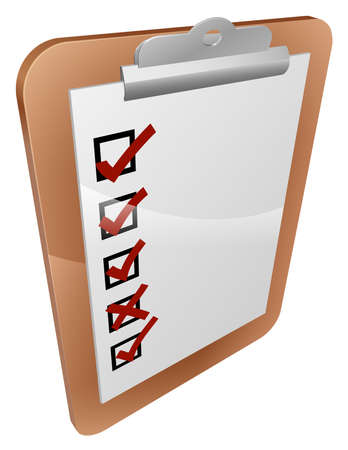 grading: A clipboard survey icon with a form on the clipboard with tick boxes