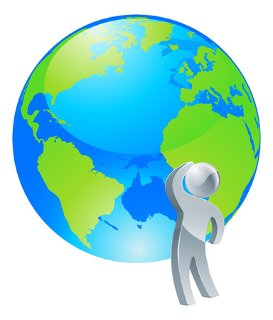 where to go: Conceptual illustration of a silver  person looking up at a globe making a decision or thinking about where to go or the environment for example.
