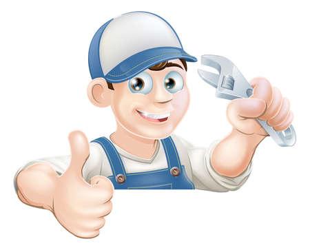 handy man: Un idraulico o meccanico in possesso di una chiave inglese o una chiave e dando un pollice in su mentre capolino su un segno o un banner