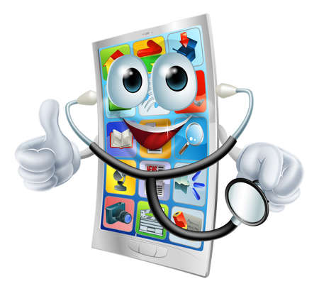 cellphone in hand: A happy cartoon cell phone man holding a stethoscope  Illustration