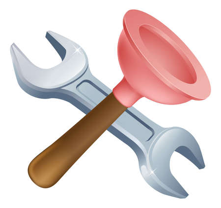 handy man: Crossed plunger and spanner tools icon of cartoon tools crossed, construction or DIY or service concept