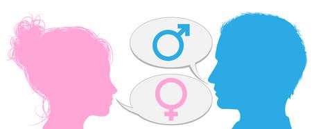 sexo femenino: Cabezas hombre silueta y una mujer hablando con iconos símbolo de sexo masculino y femenino