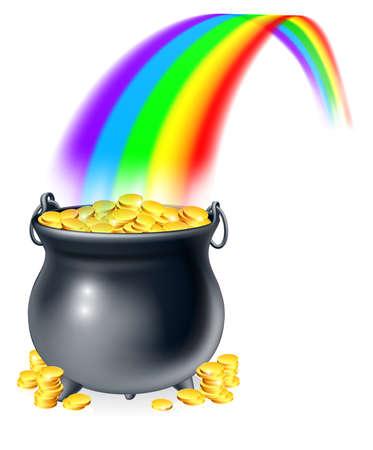 Ilustración de caldero o una olla negro lleno de monedas de oro al final del arco iris. Olla de oro al final del arco iris del concepto