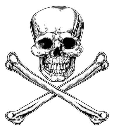 Skull and Crossbones Jolly Roger vintage pirate style sign or poison sign Vector