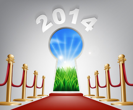verdant: New Year Door Keyhole 2014. Concept of a keyhole with a new dawn over verdant landscape and red carpet and ropes leading up to it. Illustration