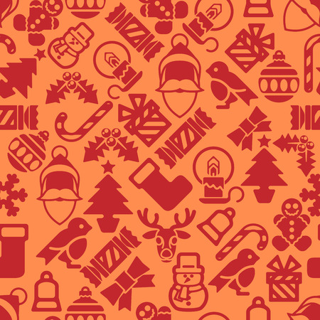 A seamless modern Christmas background pattern design with Santa robin, snowman, snowflakes, gifts and other Christmas items. Vector