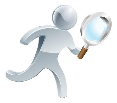 looking glass: Silver person running along looking through magnifying glass, searching for something