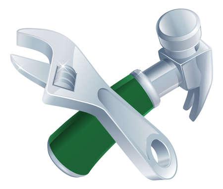 handy man: Attraversata chiave e gli strumenti martello icona di strumenti di cartoni animati incrociate Vettoriali