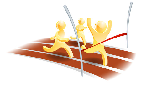 three people racing on a track with one about to cross the finish line Vector