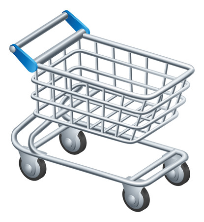 An illustration of a shopping trolley or shopping cart icon Vector