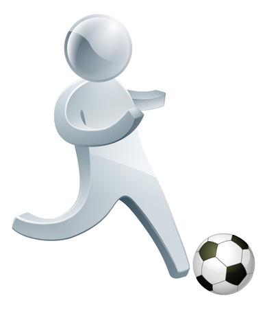 Football soccer silver man running with the football ball Vector