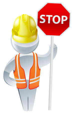 under construction sign with man: Stop sign workman wearing a yellow hard hat and high visibility jacket safety gear