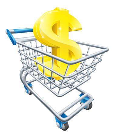 signos de pesos: Concepto carro divisa D�lar de signo de d�lar en un carro de supermercado o carro