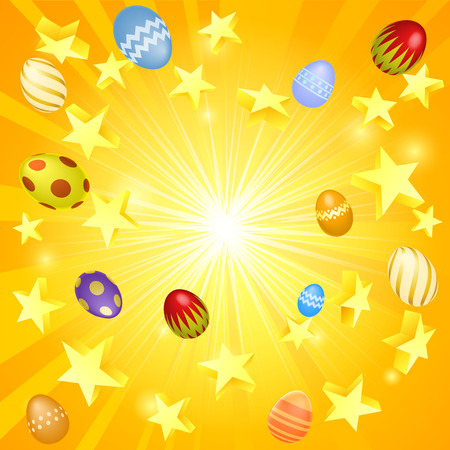 Easter banner background illustration of stars and decorated Easter eggs flying out Vector
