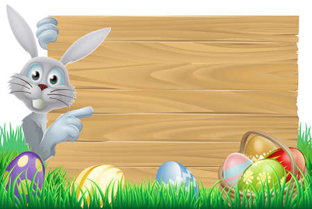White Easter rabbit bunny pointing at a sign, with chocolate Easter eggs and basket Vector