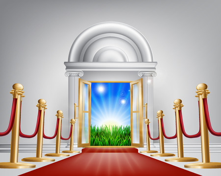 A red carpet grand luxury entrance door leading into a perfect idyllic green field landscape with sunrise. Represents a fresh start or future happiness, new opportunities or similar concepts. Stock Vector - 24827525