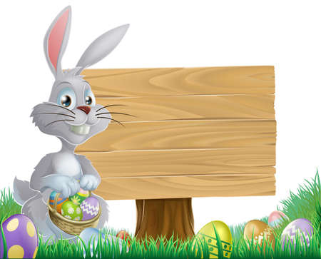 A chocolate eggs and Easter bunny sign with rabbit holding a basket of Easter eggs Vector