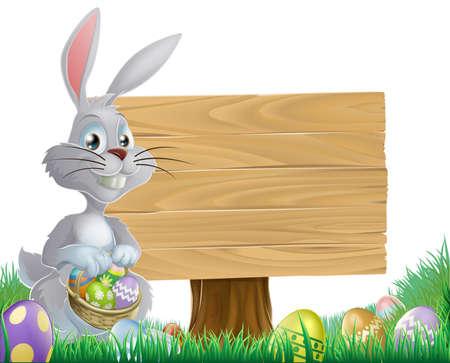 lapin: A des ?ufs en chocolat et signe de lapin de Pâques avec le lapin tenant un panier d'oeufs de Pâques