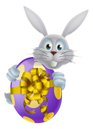 An Easter bunny peeking around a giant decorated chocolate Easter egg with a bow Vector