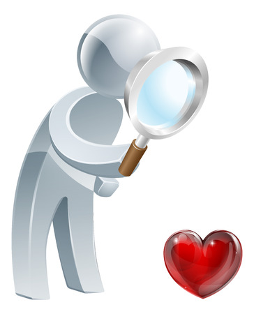 concep: A person holding a magnifying glass and looking at a heart shaped symbol. Could be concept for looking for love or dating or medical concep