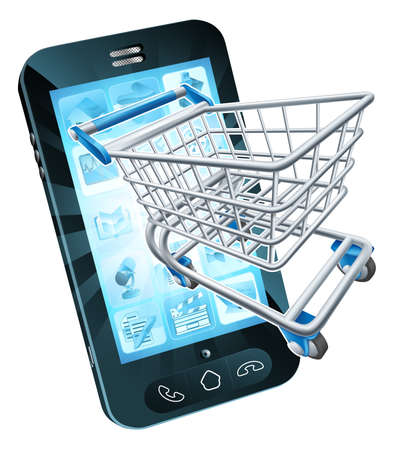 sell online: Mobile phone with shopping cart flying out, concept for shopping online or for apps or mobile phone Illustration