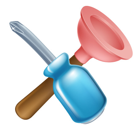 Crossed screwdriver and plunger tools icon of cartoon tools crossed, construction or DIY or service concept Vector