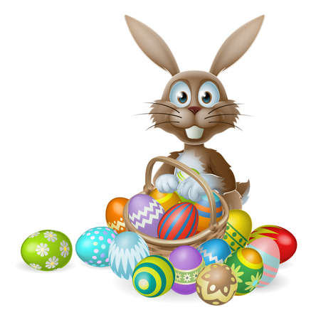 An Easter bunny rabbit with a basket of decorated painted chocolate Easter eggs Vector