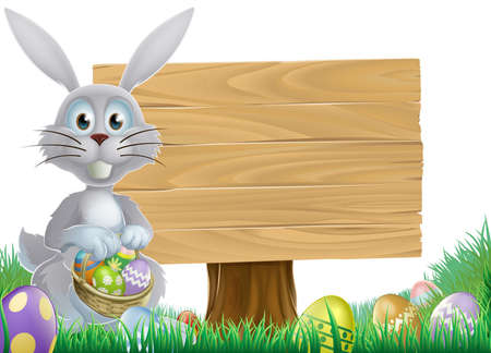 egg hunt: Easter bunny rabbit with a wooden sign holding chocolate Easter eggs basket