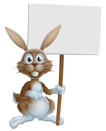 rabit: A cute cartoon Easter bunny holding a sign