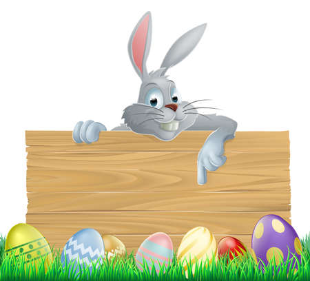 An Easter bunny rabbit wooden sign with painted chocolate Easter eggs Vector
