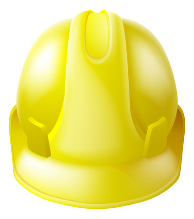 safety helmet: Illustration of a yellow hard hat safety helmet like those worn by construction workers