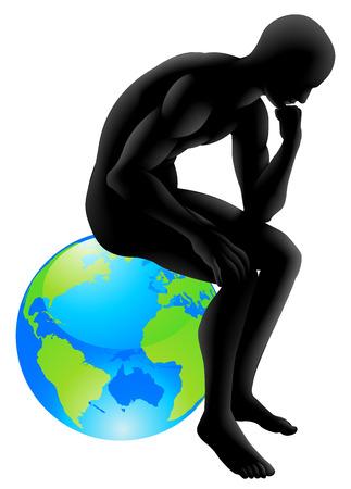 pensador: Concepto pensador Globe Vectores