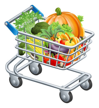 troley: An illustration of a trolley or supermarket shopping cart full of fresh healthy raw groceries, vegetables and fruits Illustration