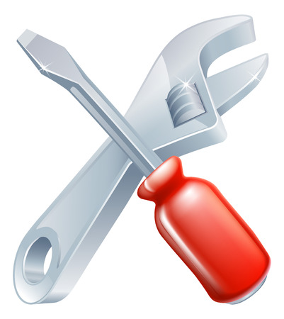 diy tool: Crossed spanner and screwdriver icon of cartoon tools crossed, construction or DIY or service concept Illustration