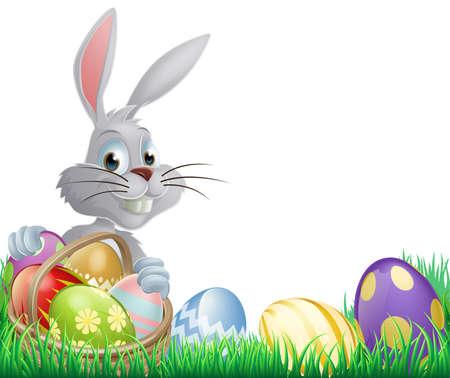 Huevos blancos del conejito de pascua mira a escondidas sobre una cesta de huevos de chocolate
