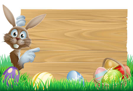 Cartoon Easter rabbit bunny pointing at a sign, decorated Easter eggs and basket in front Illustration