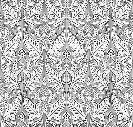 back ground: Illustration of a vintage intricate seamlessly tilable repeating Islamic motif  Illustration