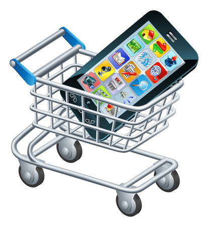 cellphone icon: Mobile phone shopping cart, a concept for shopping for apps or a new mobile phone Illustration