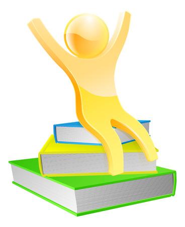 libro caricatura: Concepto de mascota libro de oro feliz con un pequeño hombre se sentó en algunos libros con los brazos arriba Vectores