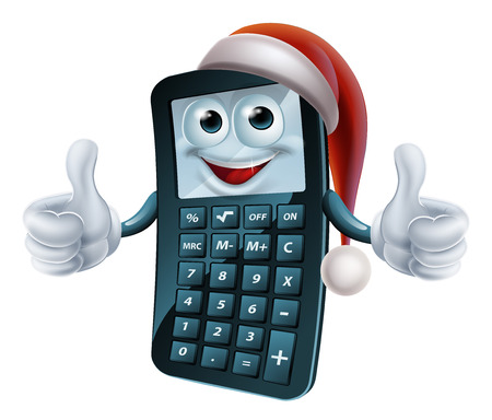 Calculator maths Christmas character wearing a Santa Claus hat Vector