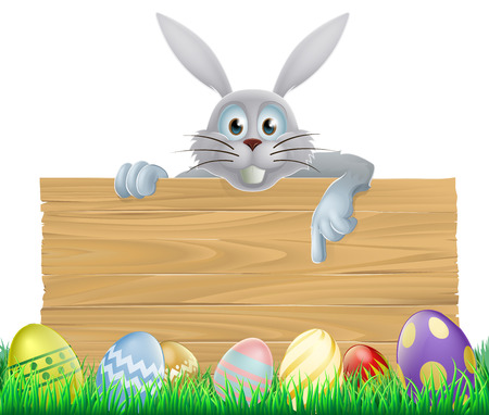 Easter eggs and Easter bunny sign with the Easter bunny peeping over the sign and pointing at the message Vector
