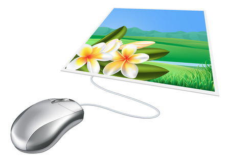 Mouse photo online internet concept, could relate to posting photos on social media  Vector