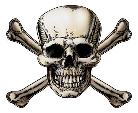 crossbones: A skull and crossbones icon illustration of a human skull with crossed bones behind it